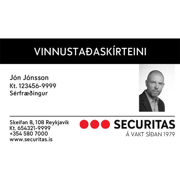 Aðgangskort vinnustaðaskírteini áprentuð aðgangskort